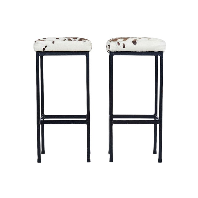 Mid-Century Retro Iron and Cowhide Barstools - A Pair - Image 1 of 6