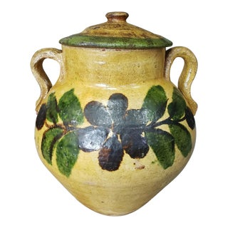 1880s French Mustard Glazed Floral Motif Terracotta Confit Pot For Sale