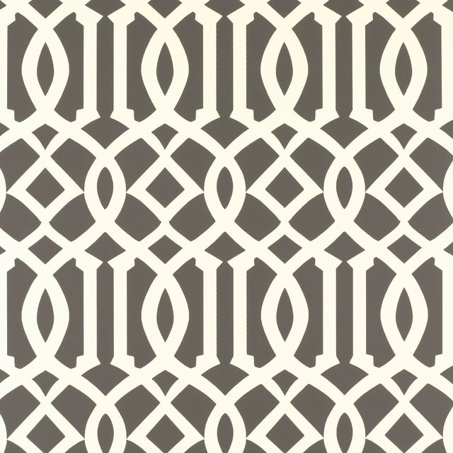 Schumacher Imperial Trellis Wallpaper in Charcoal For Sale