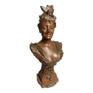 Antique Bronze Belgian Woman Bust C. 1880 For Sale
