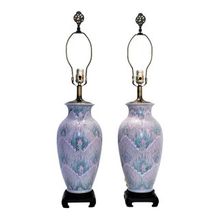 Pair Chinese asianTable Lamps - Vintage Peacock Phoenix Bird Feather Ceramic Porcelain Tropical Coastal Palm Beach Boho Chic For Sale