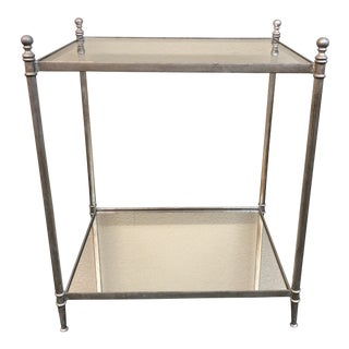 Mid-20th Century Mirror + Glass Silver Side Table For Sale