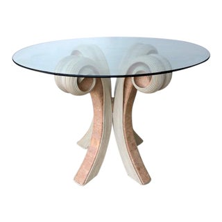 Vintage Sculptural Base Glass Top Table For Sale