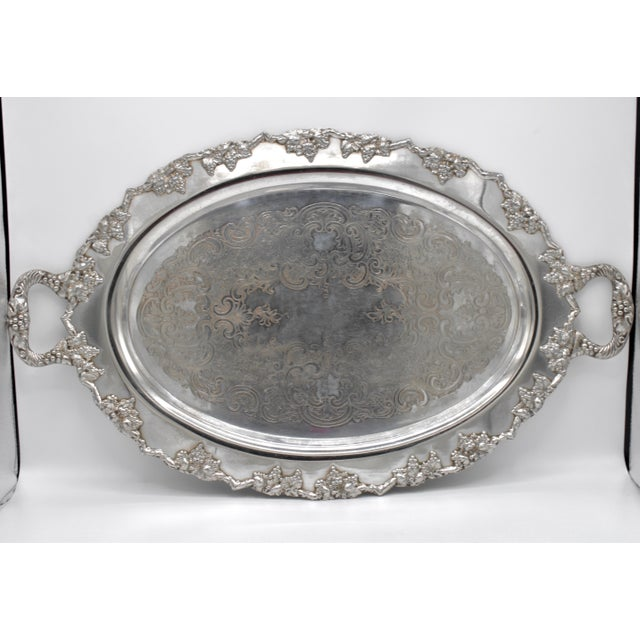 Traditional Mid-Century Silver Plate Handled Serving Tray For Sale - Image 3 of 13