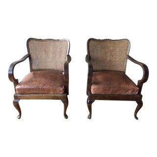 Vintage Caned Chairs With Leather Cushions - A Pair