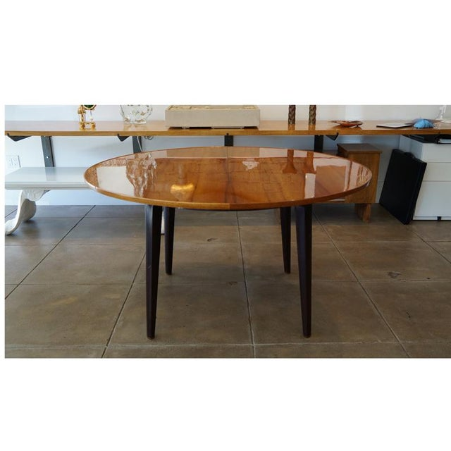 "Edward Wormley for Dunbar Extension Table with Tawi Top, Mahogany Legs and Brass Sabots. #5462 Two 15"" extensions included..."