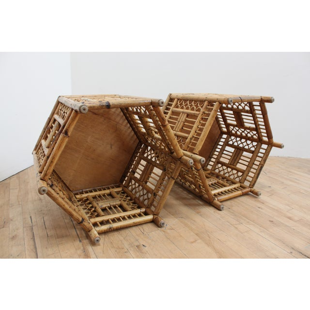 Asian Chinese Chippendale Hexagonal Side Tables- Brighton Pavilion Pair For Sale - Image 3 of 10