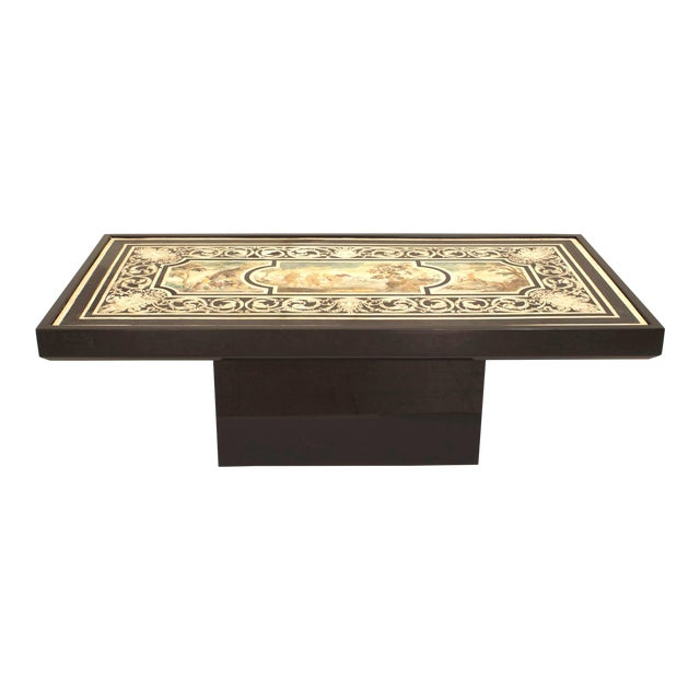 Contemporary Coffee Table With 18th C. Italian Neoclassical Top For Sale