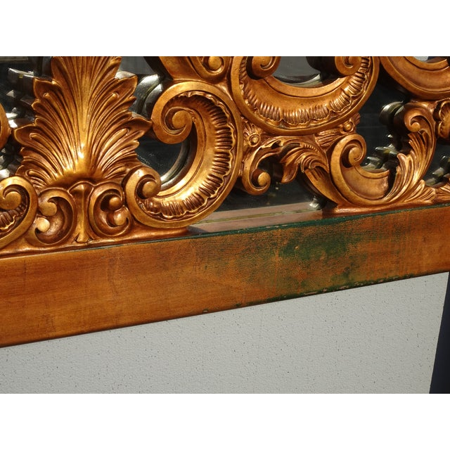 Vintage French Provincial Louis XVI Rococo Gold King Headboard Mirror & Scrolls For Sale - Image 11 of 13
