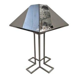 Curtis Jere, Chrome Art Deco Styled Table Lamp, 1977 For Sale
