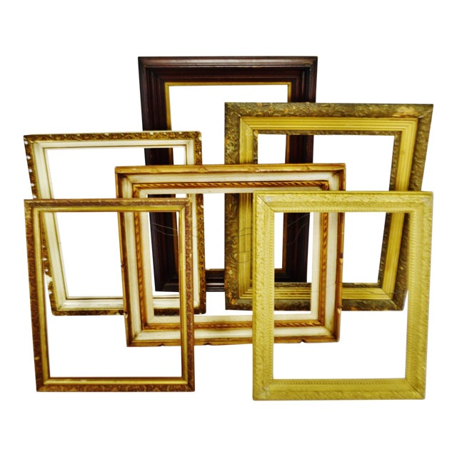 Vintage Medium Sized Wood Picture Frames - Group of 6 For Sale