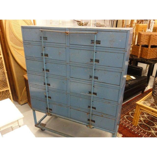Vintage Blue Industrial Metal Cabinet - Image 9 of 11