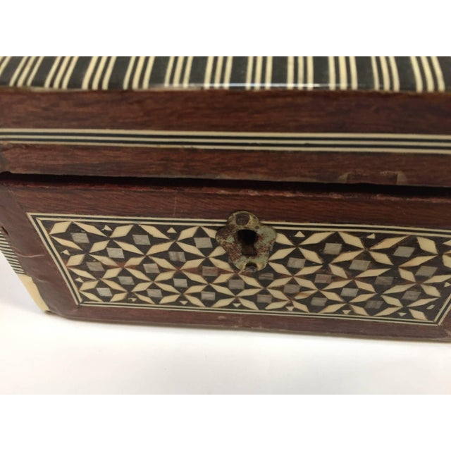 Wood Middle Eastern Syrian Mother-Of-Pearl Inlaid Octagonal Box For Sale - Image 7 of 10