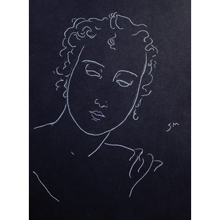 "Sarah Myers ""Woman With Curling Hair"" Minimalist Inspired White Charcoal Drawing For Sale"