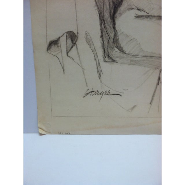 """1953 Vintage """"Playing With Hair - Nude"""" Tom Sturges Jr. Original Drawing For Sale - Image 4 of 5"""