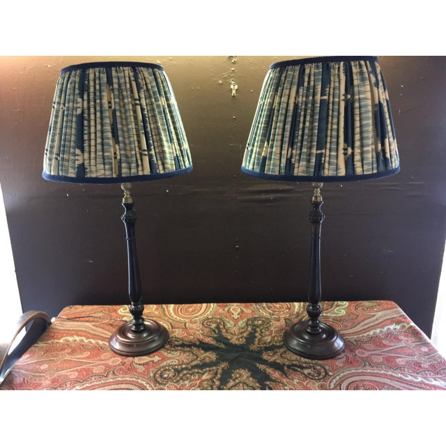 Metal Vintage Turned Wood and Brass Lamps With Hand Made Silk Ikat Shades - a Pair For Sale - Image 7 of 8