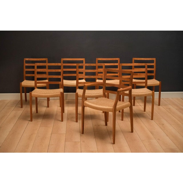 Vintage Mid Century Moller Model 85 Danish Teak Dining Chairs- Set of 8 For Sale - Image 12 of 12