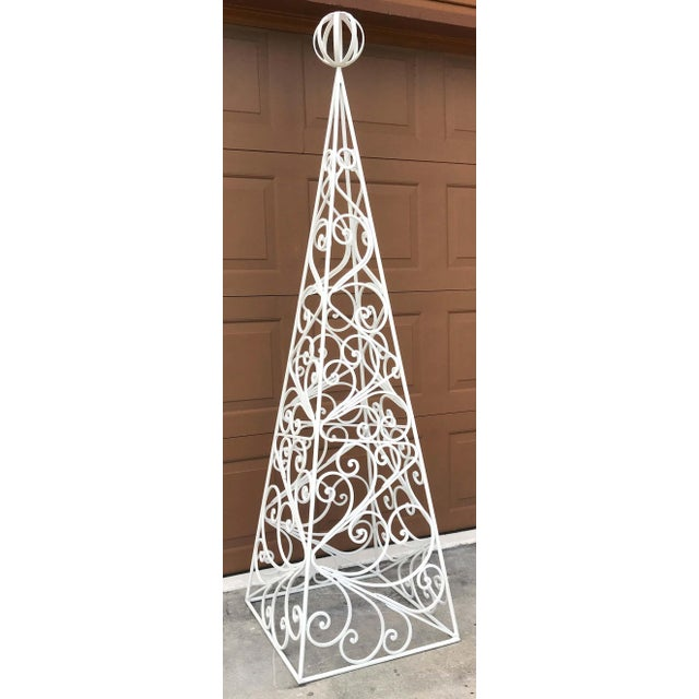 Pair of French Art Deco Neoclassical Wrought Iron Obelisk Planters For Sale - Image 11 of 12