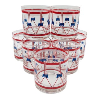 1950s Federal Glass Co. Red White and Blue Drum Rocks Glasses - Set of 8 For Sale