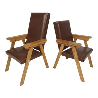 Pair of Small Vintage Modern Lounge Chairs For Sale