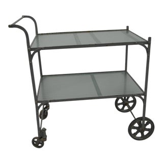 Tea Cart with Painted Steel Frame and Two Shelves of Rippled Glass For Sale