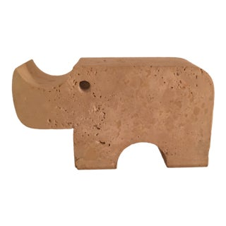 Mid Century Italian Fratelli Mannelli Travertine Rhino Figurine For Sale