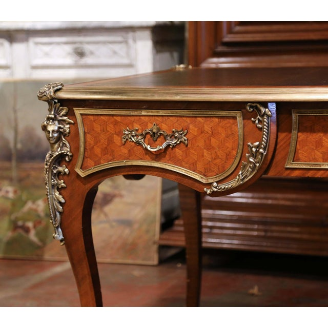 Figurative 19th Century French Louis XV Marquetry and Bronze Bureau Plat With Leather Top For Sale - Image 3 of 13