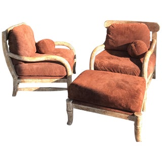 Pair of Kreiss Large Suede and Antiqued Rustico Wood Club Chairs and Ottoman For Sale