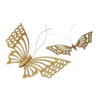 Vintage Solid Brass Butterflies - a Pair