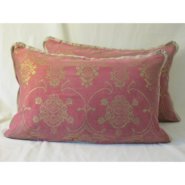 Fortuny Modern Belgian Linen Fortuny Pillows- A Pair For Sale - Image 4 of 5