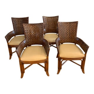 1990s Vintage McGuire Style Bamboo and Woven Leather Armchairs- Set of 4 For Sale