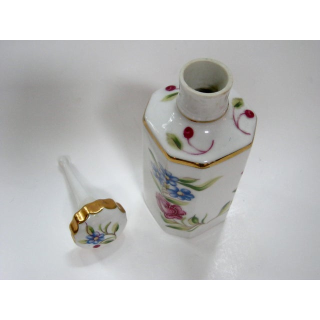 Antique Hand Painted Floral German Perfume Bottle / Decanter For Sale - Image 5 of 6