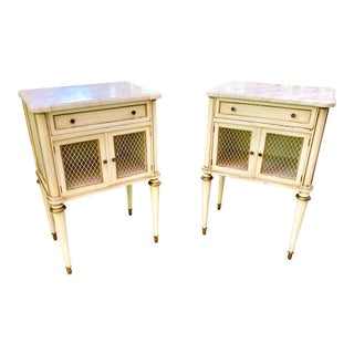 1930s French Directoire Louis XVI Style Painted Bedside Tables - a Pair For Sale
