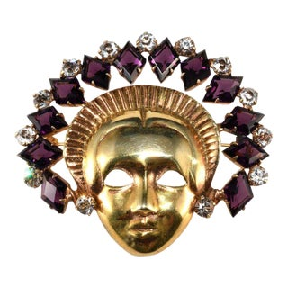 Mazer Sterling Mask Lady With Purple Rhinestone Headdress Face Pin For Sale
