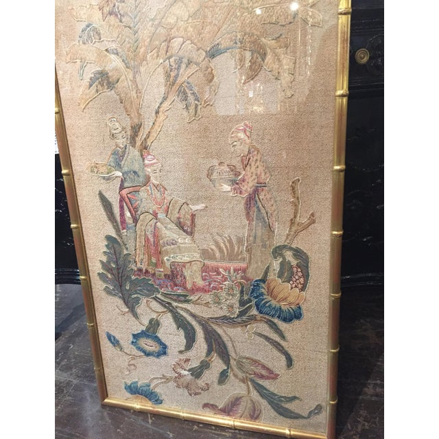 1900 - 1909 Set of 3 English Silk Embroideries in Gilt Frame For Sale - Image 5 of 9