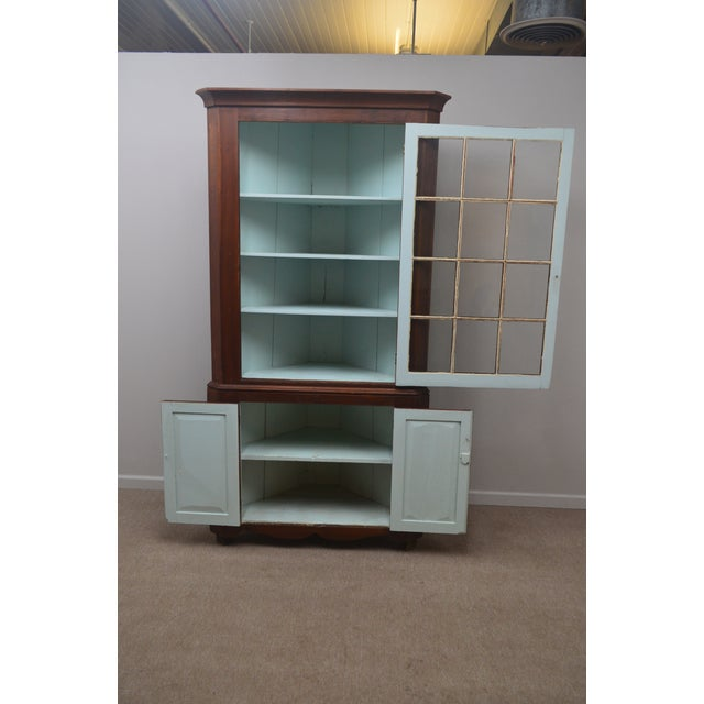 19th Century Antique Pine China Cabinet For Sale In Philadelphia - Image 6 of 12