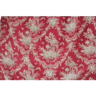 Toile Fabric Antique Rococo Chinoiserie Design French Red & Gray 1870 Cotton For Sale