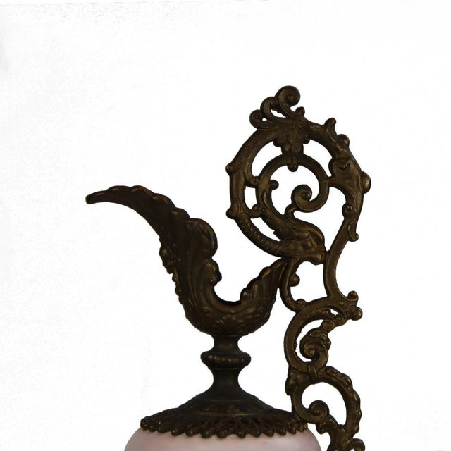 1920s Pasargad DC Bronze Porcelain Painted With Gold Garlands Ewer Urn For Sale - Image 5 of 7