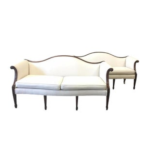 English Antique Chippendale Mahogany Sofa Couches - a Pair