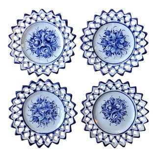 Vintage Mid-Century Blue and White Floral Reticulated Plates- Set of 4 For Sale