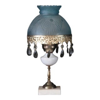 1940s Victorian Brass & White Milk Glass Blue Frosted Glass Shade Electrified Oil Lamp For Sale