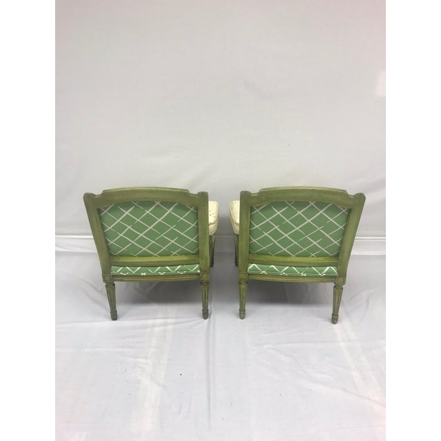 French Style Green-Painted Slipper Chairs - A Pair For Sale - Image 5 of 13