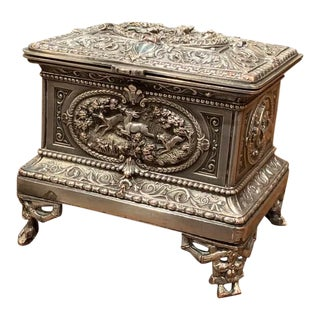 19th Century French Silver Plated on Copper Jewelry Box With Repoussé Hunt Motif For Sale