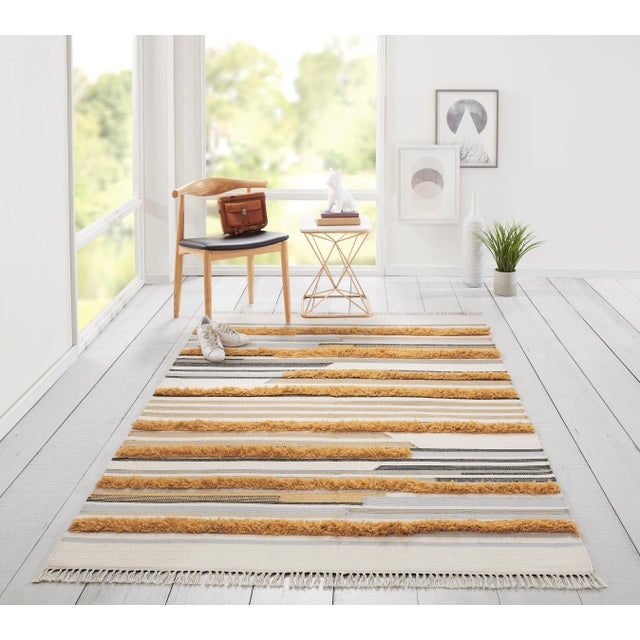 Textile Novogratz by Momeni Indio Feliz in Mustard Rug - 2'X8' Runner For Sale - Image 7 of 8