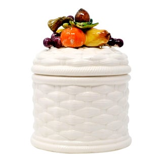 Fruit and Basketweave Ceramic Jar by Imports Ny For Sale