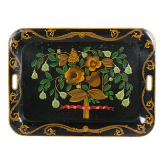 19th Century French Napoleon III Painted Tole Tray For Sale