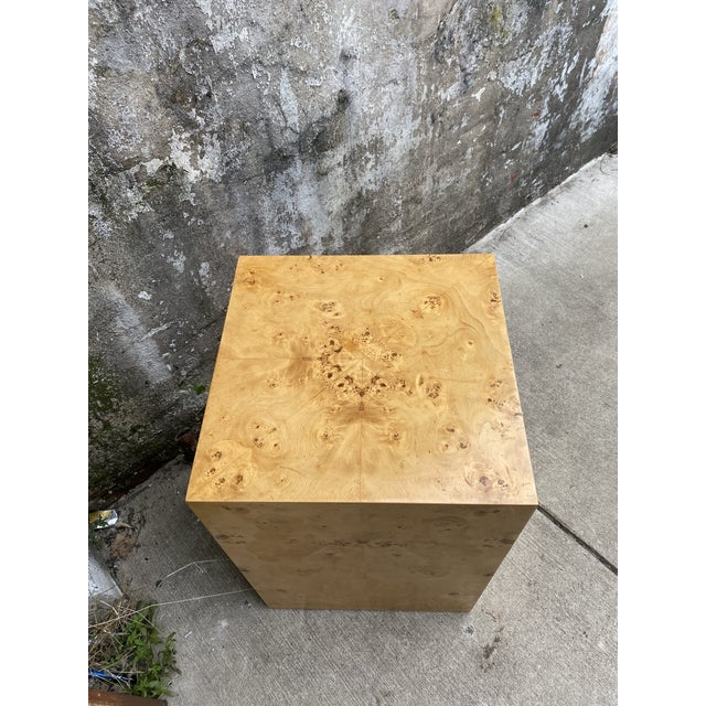 1970s Organic Burl Wood Tall Side End Table Cube Pedestal For Sale - Image 5 of 8