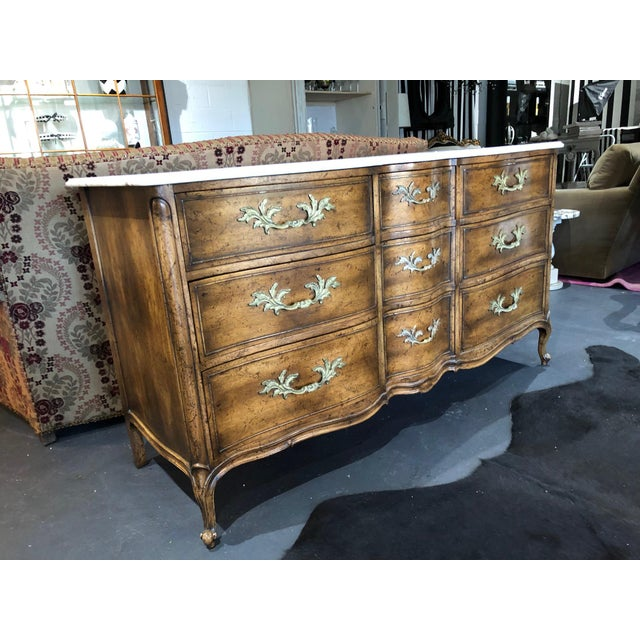 French Provincial 1960s French Provincial 9-Drawer Marble Top Dresser For Sale - Image 3 of 13