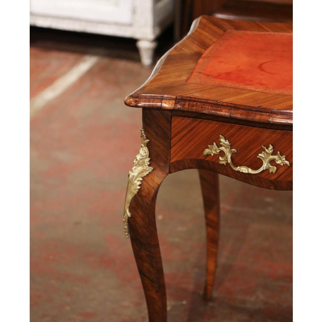 Metal 19th Century French Louis XV Marquetry and Bronze Ladies Desk With Leather Top For Sale - Image 7 of 13