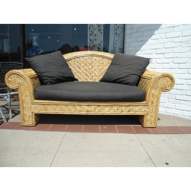 Wicker Frame & Black Cushions Outdoor Sofa - Image 2 of 6